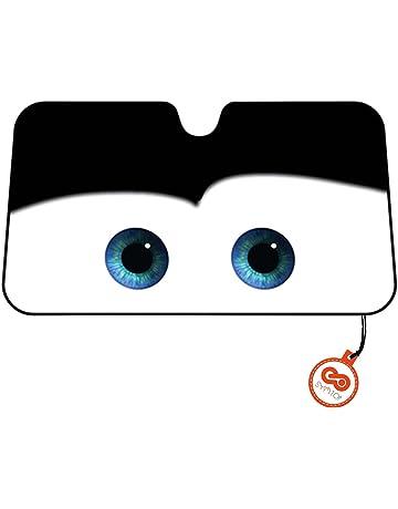 Parasol Parabrisas Delantero de Coche con Diseño Ojos Dibujos Animados - Negro