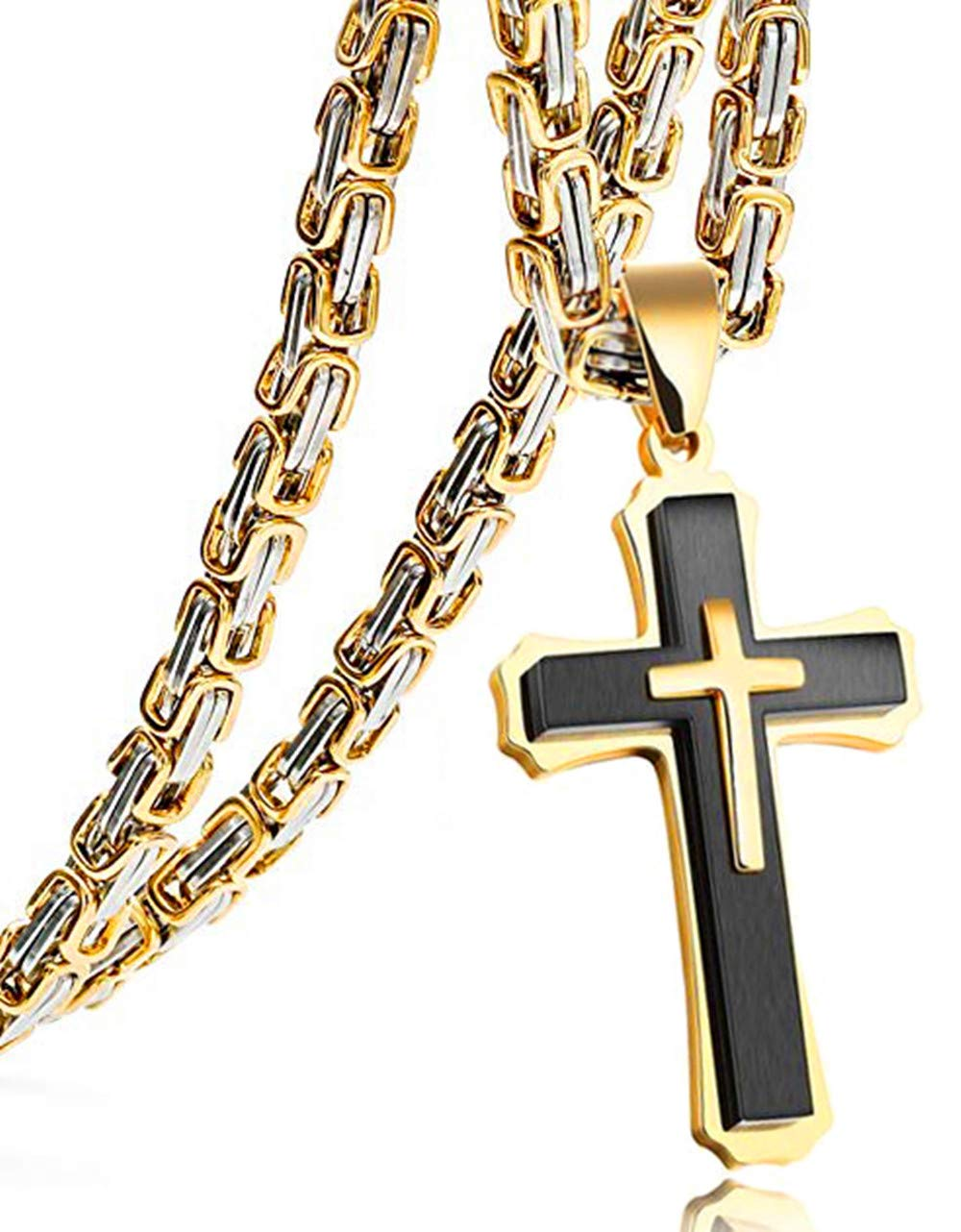 Cross Pendant Necklace Mens Boys Stainless Steel Gold Silver Black Byzantine Chain 20 22 24 26 28 30 32 34 36 38 40inch 40.0 inches, Gold Silver Tone