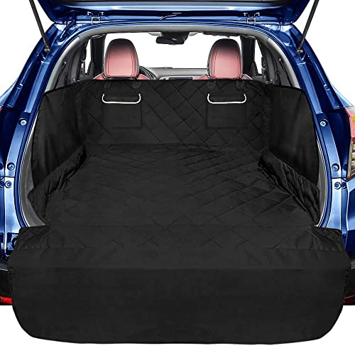 F-color SUV Cargo Liner for Dogs, Waterproof Pet Cargo Cover with Side Flap Protector 2 Pockets Dog Seat Cover Mat for SUVs Sedans Vans with Bumper Flap, Non-Slip