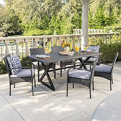 Christopher Knight Home Aster Outdoor 7 Piece Grey Aluminum Dining Set with Grey Wicker Dining Chairs and Grey Water Resistant Cushions - This clean and simple dining set combines the functionality of iron and aluminum with the comfort of wicker. Complete with a table, and 6 wicker dining chairs, this set offers comfortable seating in the great outdoors. Includes: One (1) Table and Six (6) Dining Chairs Table Material: Aluminum Table Frame Material: Steel Chair Material: Polyethylene Wicker Chair Frame Material: Iron Cushion Material: Water Resistant Fabric Composition: 100% Polyester Table Finish: Grey Frame Finish: Black Chair Wicker Finish: Grey Cushion Color: Grey Assembly Required Hand Crafted Details Table Dimensions: 35.25 inches deep x 70.50 inches wide x 29.00 inches high Chair Dimensions: 23.50 inches deep x 22.10 inches wide x 32.75 i - patio-furniture, dining-sets-patio-funiture, patio - 61 FEJGBT8L. SS400  -