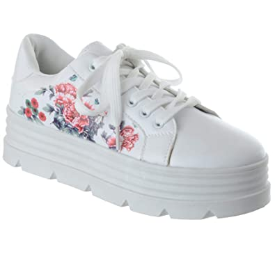 low priced recognized brands great quality New Ladies Womens Flat Lace Up Chunky Sole Platform Trainers ...