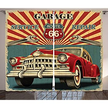 Ambesonne Americana Decor Collection, Vintage Garage Repair Shop Advertising Automobile Rustic Vehicle and Nostalgic Retro Art, Living Room Bedroom Curtain 2 Panels Set, 108 X 84 Inches, Red Grey