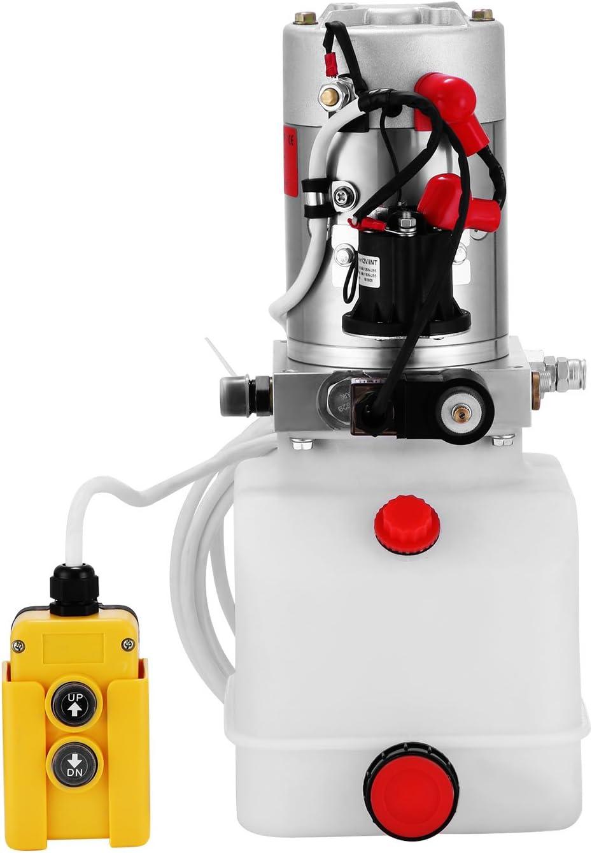 Guellin Bomba Hidráulica de Acción Simple 12V Bomba Hidráulica con Tanque de Combustible Plástico Hydraulic Pump para Elevación de Vagón Remolque Volquete (4L)