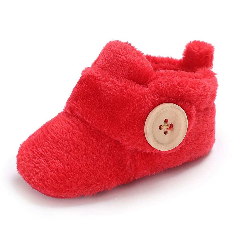 Wollanlily Newborn Baby Girls Boys Slippers Warm Fur Infant Toddler Boots Slip On Booties Shoes