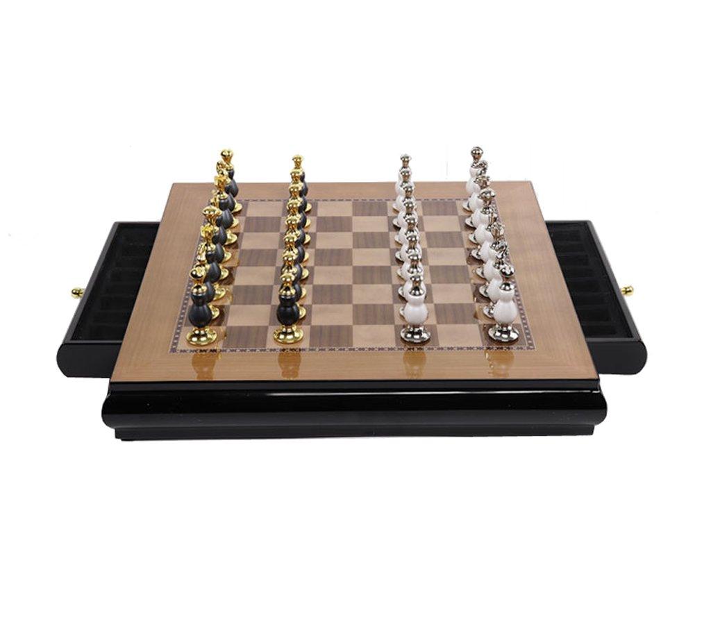 Tao Internationales Schach, Schachbrett Weiche Dekoration Ornamente Zink-Legierung Schachfiguren Wohnzimmer Dekoration Handwerk Schach (Farbe : B)