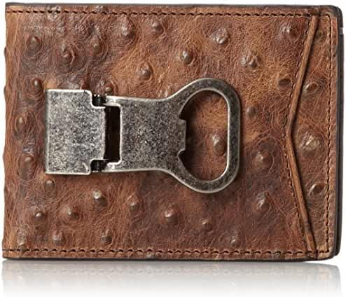 Nocona Men's Ostrich Print Money Clip Bi-Fold Wallet - N5488602