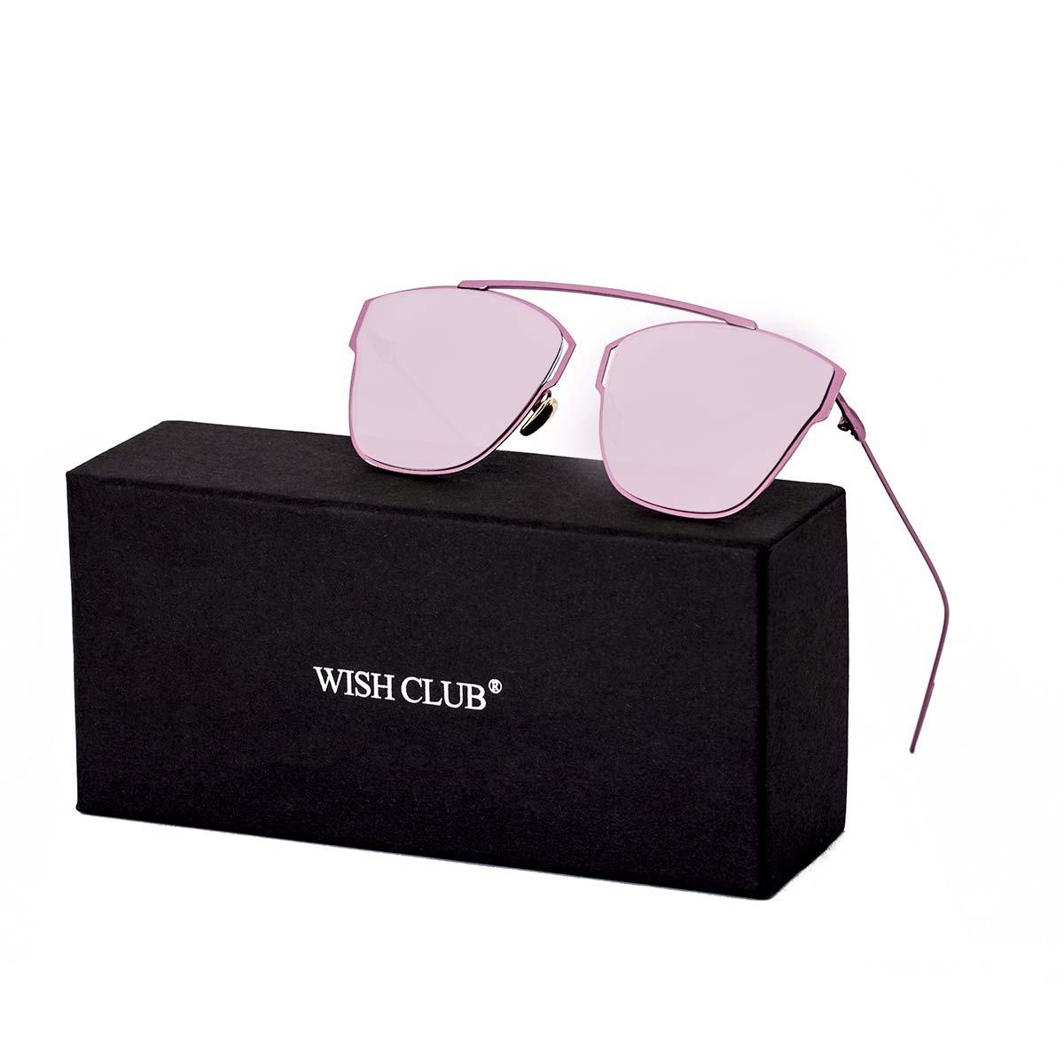 WISH CLUB Women Classic Cat Eye Sunglasses Fashion Round Reflective Mirrored Stylish Light UV 400 Glasses (Pink)