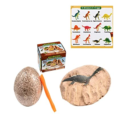 Archer Dino Eggs Excavation Set of 12 Dinosaurs Fossil Dig Up Kit Archaeology Science Gift Single Pack, Random Style: Toys & Games