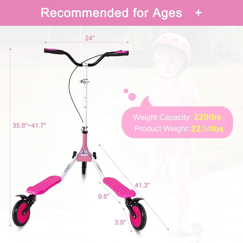 AODI Swing Scooter 3 Wheels Regolabile Drifting Wiggle Scooter a 3 Ruote Self Propelling per Ragazzi e Ragazze età 7 Anni e Fino pink