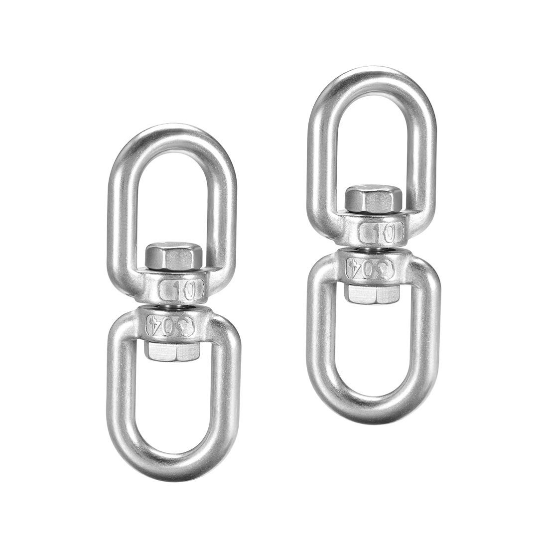 25//64 in Stainless Shackle Connector Bolts Eye to Eye 2 Pcs uxcell M10 Swivel Eye Double Ended Round Rotating Hoist Ring