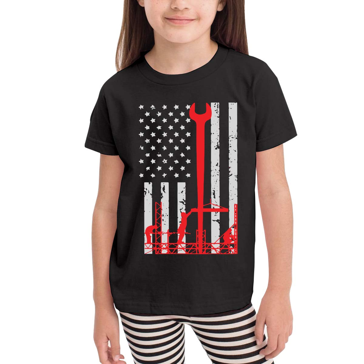 Toddler Ironworker America Flag Cute Short Sleeve Tee Tops Size 2-6