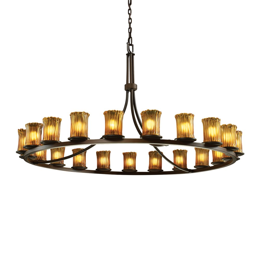 Justice Design Group Veneto Luce 21-Light Chandelier - Dark Bronze Finish with Amber Venetian Glass Shade by Justice Design