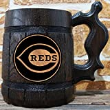 Cincinnati Reds Beer Mug, Baseball Wooden Beer Stein, Sport Gift, Personalized Beer Stein, Cincinnati Reds Tankard, Custom Gift for Men, Gift for Him