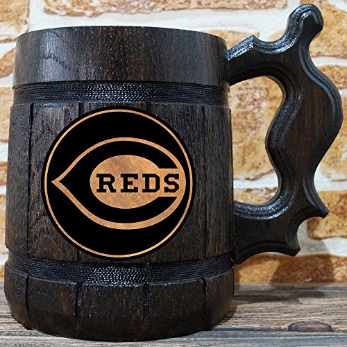 (Cincinnati Reds Beer Mug, Baseball Wooden Beer Stein, Sport Gift, Personalized Beer Stein, Cincinnati Reds Tankard, Custom Gift for Men, Gift for Him)