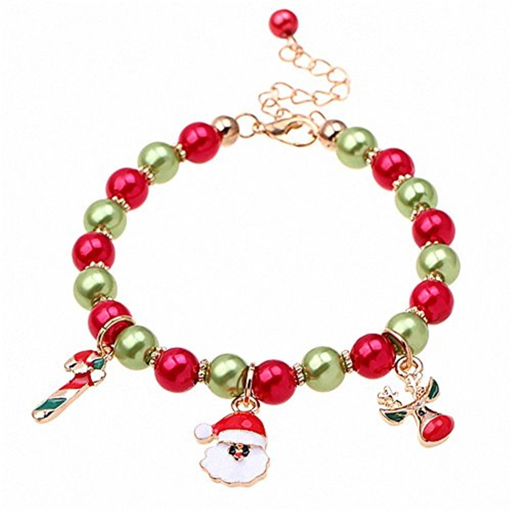 Cosanter Women Bracelet Christmas Charm Hand Jewelry Chain Colorful Beads Hand Chain Santa Pendants for Christmas Ladies Girls Party Prom Decoration Birthday Gifts