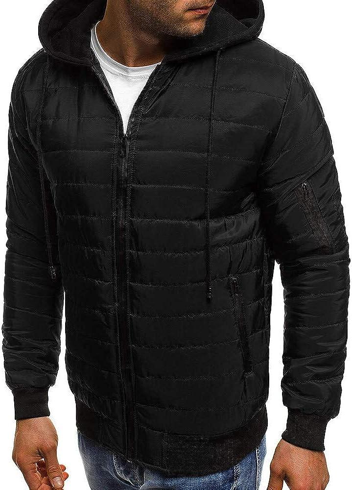 YOCheerful Mens Lightweight Puffer Coat Winter Solid Zipper Down Coat Down Jacket Warm Outerwear Hooded Top Blouse
