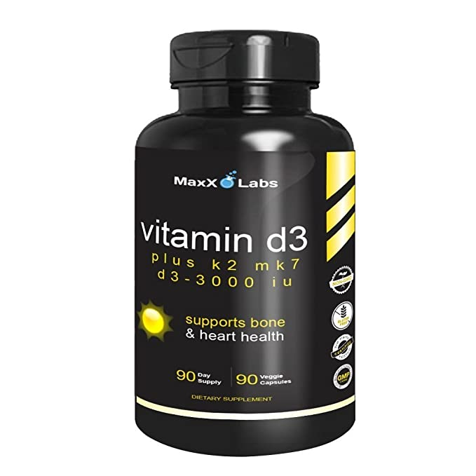 Vitamin D3 with Vitamin K2 MK-7 ☆ New ☆ Full 3,000 IU Per Capsule Plus 115mcg MK7 from Natto - Natural, Effective, Safe - Supports Bone and Heart Health ...