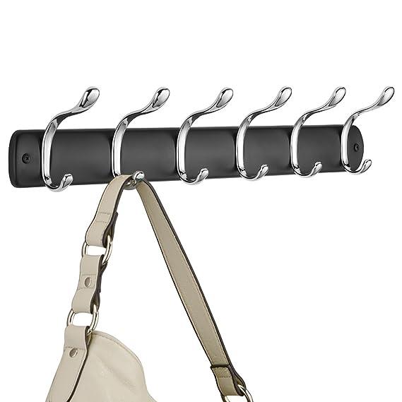 InterDesign Bruschia Colgador de Pared, Perchero de Metal con 6 Ganchos para Colgar, Negro Mate/Plateado
