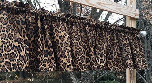 Cheetah Jaguar Big Cat Animal Skin Print Safari Wildlife Jungle Brown Handcrafted Curtain Valance - Safari Print Curtains