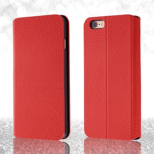 Book Cover Type Leather Jacket Case for iPhone 6 Plus (Red)