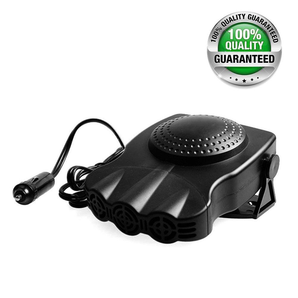 Hjuns Car Heater Defroster Defogger Cooling Fan 3-outlet 12V 150W (Black)