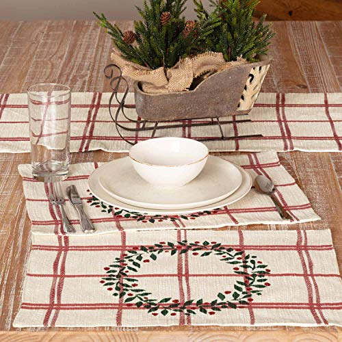 Piper Classics Red Double Windowpane Placemats, Set of 4, Rustic Farmhouse, Country, Natural Cream & Cranberry Red Woven Table Décor w/Printed Green Christmas Wreath, Holiday Décor ()