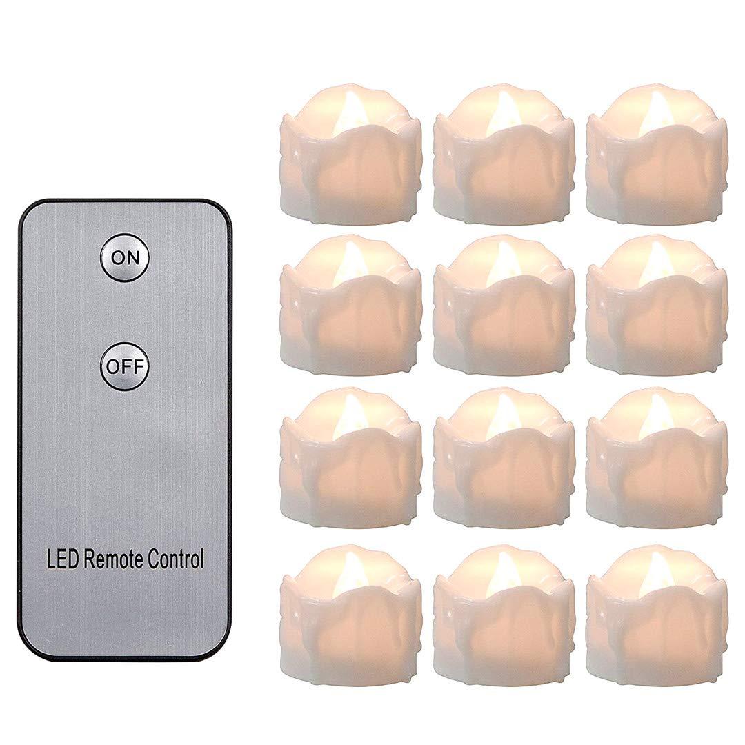 Snner 12 PCS Senza Fiamma di Controllo Tea Lights Batteria Lunga Lasting Remote Operated Candela del LED Luce tremolante Tealight per Le Vacanze, Party, Matrimonio-Giallo