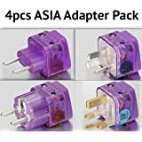 NEW! 4 Pieces HIGH QUALITY ASIA TRAVEL ADAPTER Pack for MOST countries in ASIA; CHINA THAILAND MALAYSIA SOUTH KOREA SINGAPORE INDONESIA PHILIPPINES VIETNAM LAOS CAMBODIA BURMA HONG KONG MACAU and more / WITH DUAL PLUG-IN PORTS AND BUILT-IN SURGE PROTECTORS