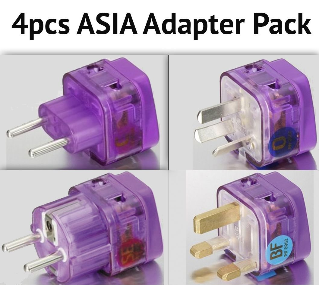 NEW! 4 Pieces HIGH QUALITY ASIA TRAVEL ADAPTER Pack for MOST countries in ASIA; CHINA THAILAND MALAYSIA SOUTH KOREA SINGAPORE INDONESIA PHILIPPINES VIETNAM LAOS CAMBODIA BURMA HONG KONG MACAU and more / WITH DUAL PLUG-IN PORTS AND BUILT-IN SURGE PROTECTOR