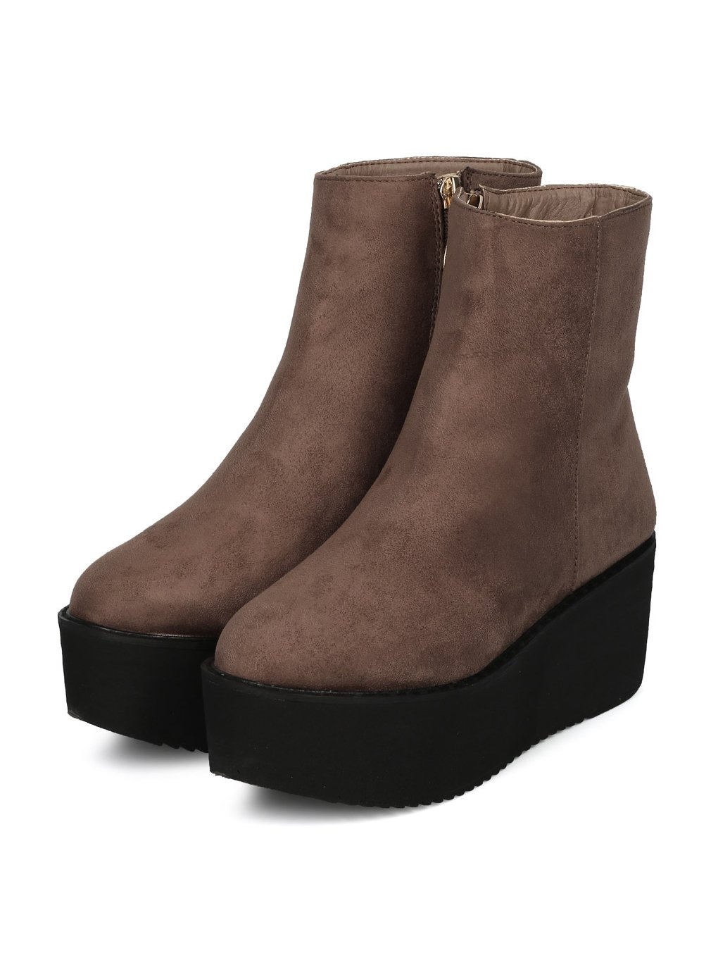 Indulge Hebe-I Women Round Toe Platform Creeper Ankle Bootie HE66 - Taupe Faux Suede (Size: 7.0) by Indulge (Image #4)