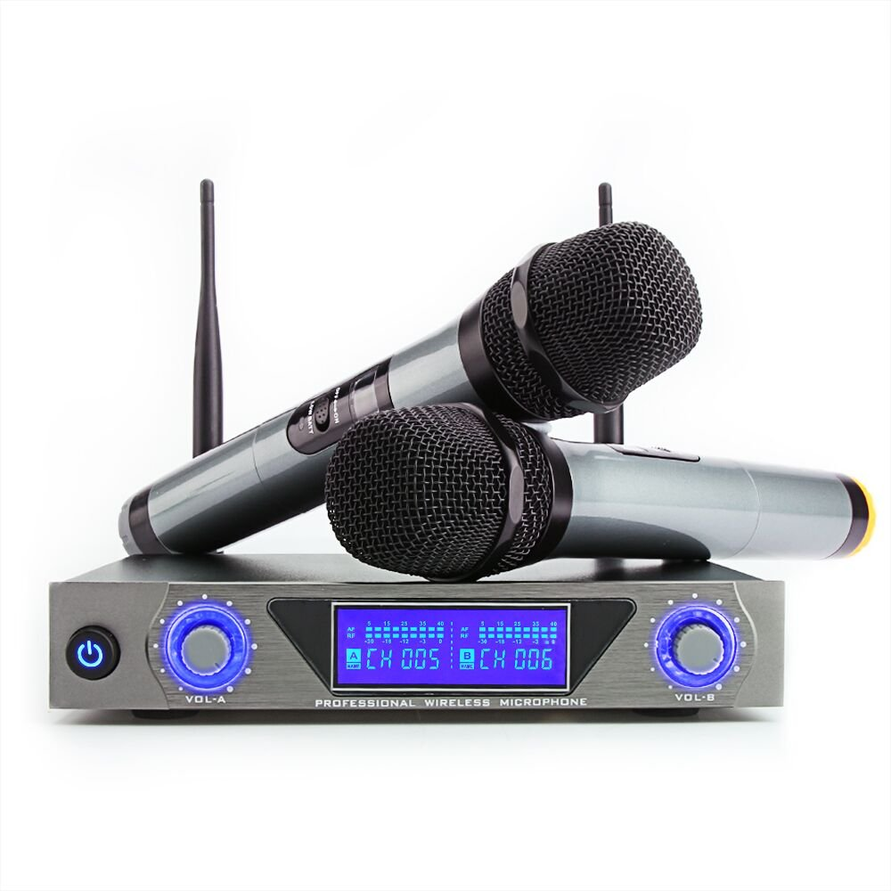 ARCHEER UHF Wireless Microphone System with LCD Display, Dual Channel Handheld Dynamic Microphones Karaoke Mixer for outdoor wedding, Conference, Karaoke, Evening Party 9lRKxf92P