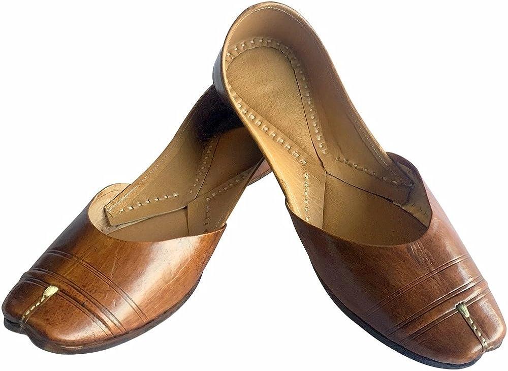 Step n Style Brown Traditional Handmade Women Shoes Leather Flip-Flops Mojari Juti Khussa