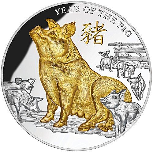 Lunar Pig - 2019 NU 5 Oz Lunar Series Niue PowerCoin YEAR OF THE PIG Lunar 5 Oz Silver Coin 8 Niue 2019 Proof
