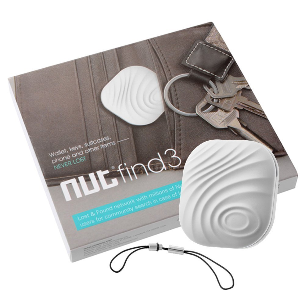 Mini Bluetooth GPS Tracker, Key Finder, Nut Find 3Anti-lost Smart Tag, Phone Wallet Bag Pet Dog Locator with App Control Bi-directional Tracking Alarm for iOS/ iPhone/ iPod/ iPad/ Android (White) PoWise