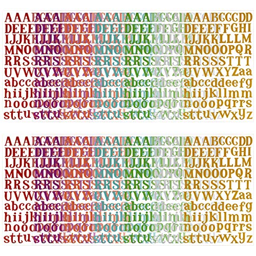 - MADHOLLY 14 Sheets Letter Gift Alphabet Sticker, Colorful Self Adhesive Letter