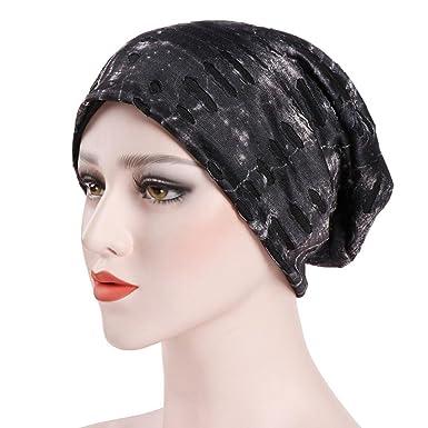 Kingko ® Women s Muslim Double Protection Windproof Stretch Turban Hat Chemo  Beanie Cap Hair Loss Head 4405c79d0412