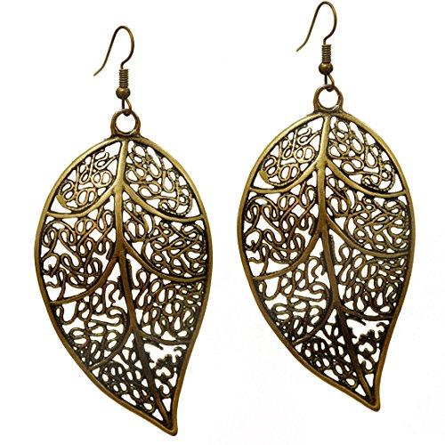 Stay Calm Filigree Leaf Earrings - Delicate Lightweight Bronze Plated Aspen Cutout Oversized Drop Dangles for Women (earring2001)