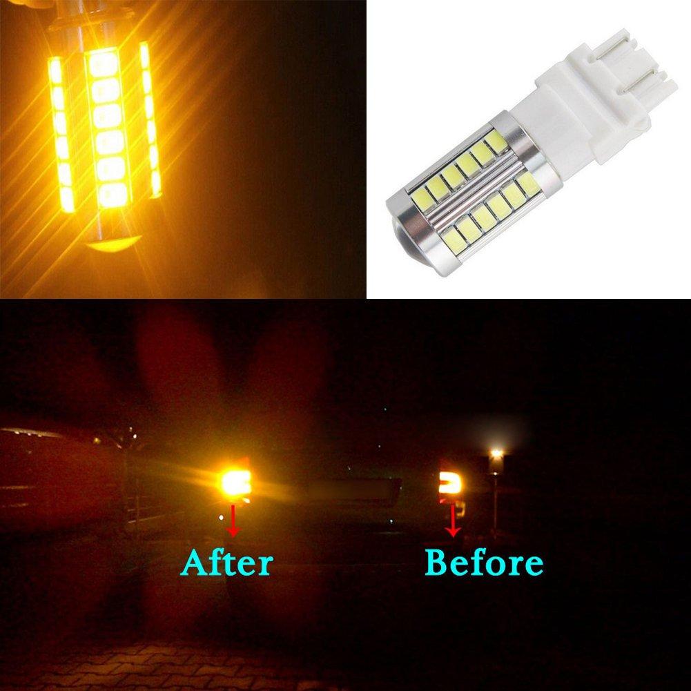 KATUR 2pcs 3156 3456 5630 33-SMD White 900 Lumens 6000K Super Bright LED Turn Tail Brake Stop Signal Light Lamp Bulb 12V 3.6W