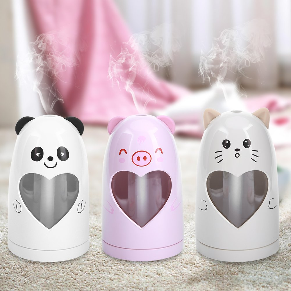 Mist Humidifier Ultrasonic USB Portable Air Humidifiers Purifier for Cars Office Desk Home Babies kids Bedroom 180ML Mini Desktop Cup Humidifier(Pig) by YosooXX (Image #9)