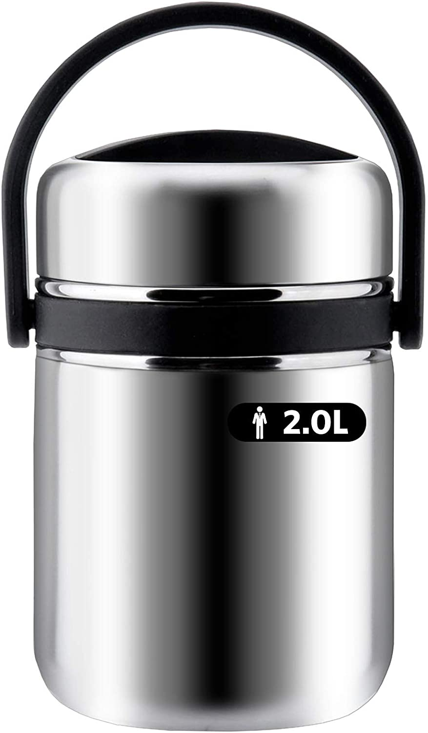 Soup Thermos Wide Mouth,3 Tier Food Thermos Jar, Leakproof Vacuum Lunch Box Food Carrier 304 Stainless Steel Insulated Thermos Food Container Storage Carrier, Keep Warm 6-8 hours (2.0L-63 Oz, Black)