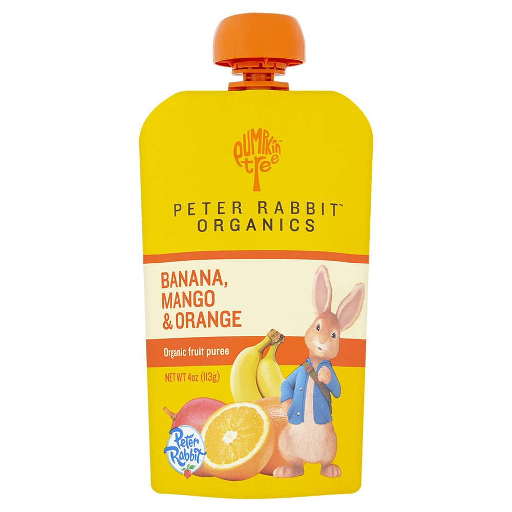 Peter Rabbit Organics Banana, Mango and Orange Puree, 4 Ounce Squeeze Pouch, (Pack of 10)