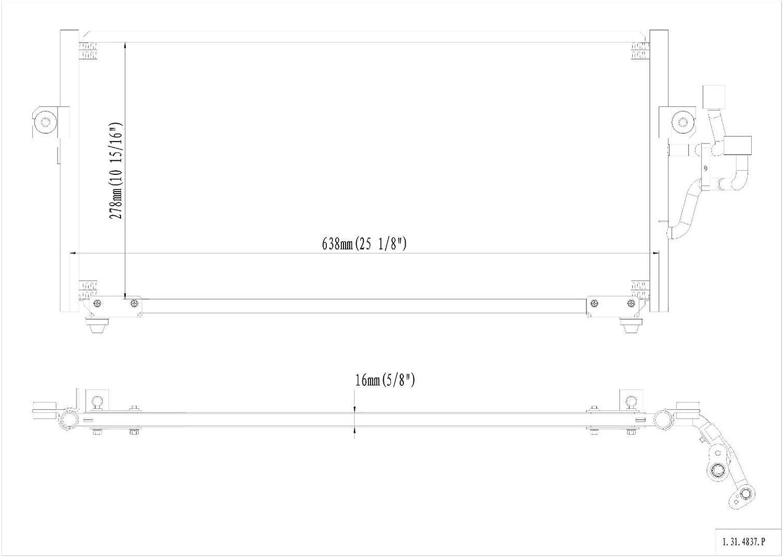 Junonne Radiator All Aluminum Condenser 1 Row For 1997-2002 Mitsubishi Mirage 1.8L L4 1997-2002 Mitsubishi Mirage 1.5L L4 CU4837 MR218428 MR360276 REA31-4837P