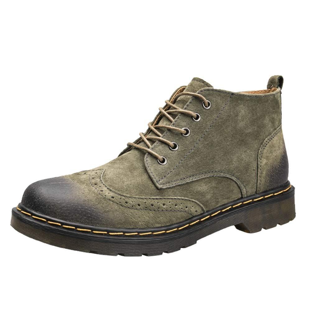 YJiaJu Mode Stiefelette, Lässig Einfache Komfortable Retro Brogue Stil Schnürung Hohe Stiefel für Männer (Farbe   Army Grün, Größe   39 EU)