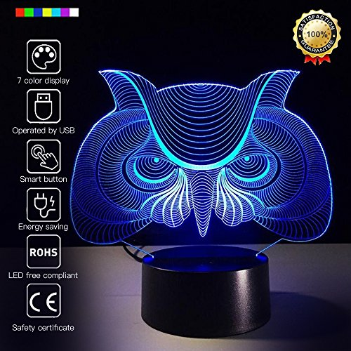 - Fding 3D Glow Optical Illusion 7 Color Changing Owl Inspiration Night Light Touch Button Desk Lamp Table Light Home Decor (Owl)