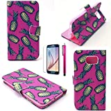 S4 Mini Case, JCmax Ultra lightweight Premium PU Leather Wallet Case [Non-Slip] Durable With Scratch Resistant For Samsung Galaxy S4 Mini (1 x screen protector 1 x stylus pen)-Ananas