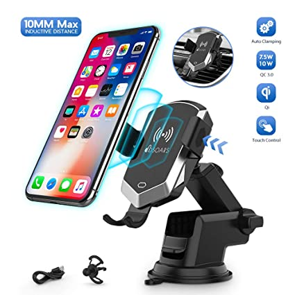 Wireless Car Charger Mount, 10MM Max Inductive Distance Manual Automatic Clamping 10W/7.5W Fast Charging Phone Holder Compatible iPhone 11/11 Pro/11 ...