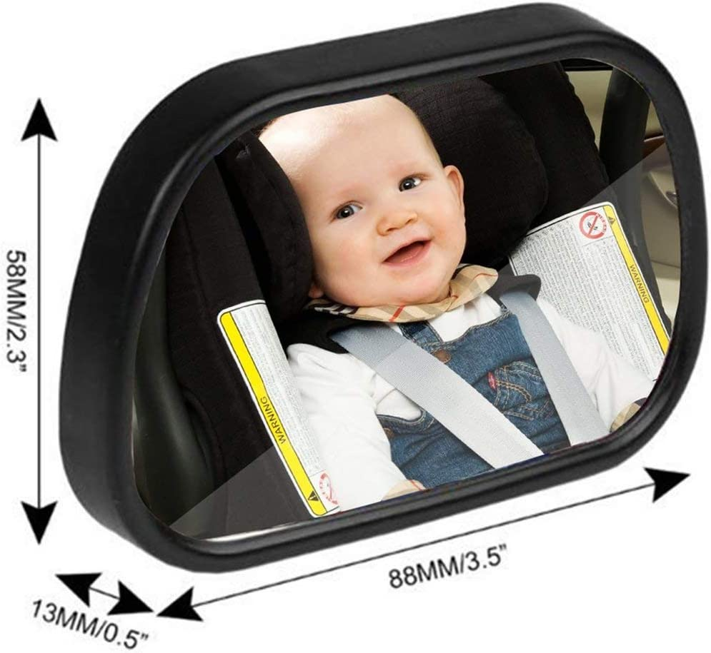 Zinniaya 2 in 1 Universal Adjustable Plastic Rear View Interior Mirror Car Seat for Baby Child Safety With Clip and Sucker
