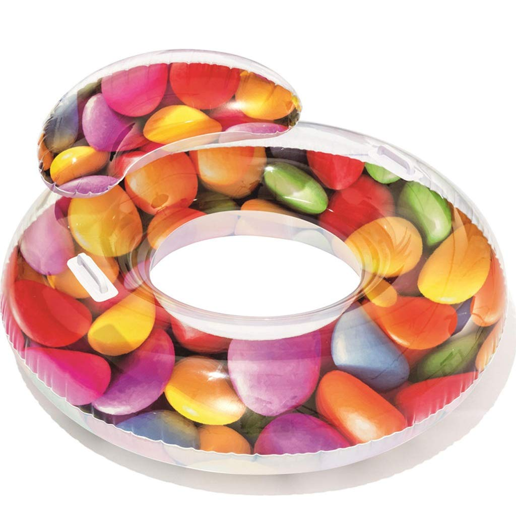 Large Male And Female Adult Inflatable Seat Ring  Fruit Translucent Swim Ring With Handle Back Floating Row, PVC Material, With Manual Air Pump