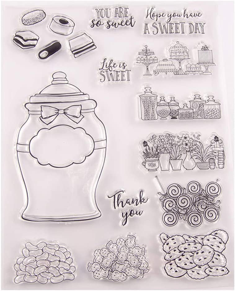 You are Sweet Sugar Sweet Day Candy Jar Flowers Cakes Clear Stamps for Cards Making Decoration Clear Stamps or Scrapbooking Paper Craft Tools
