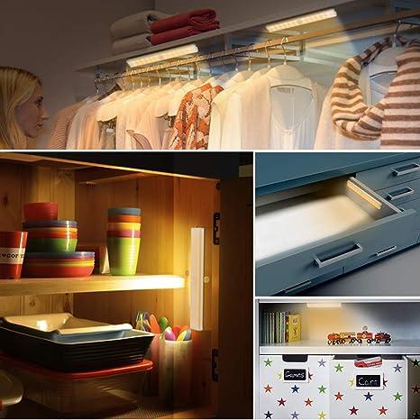 LED Luz Armario, luz armario led sensor 24 LED blanco cálido Luz nocturna, Lámpara nocturna recargable USB, Luces de seguridad magnéticas portátiles para ...